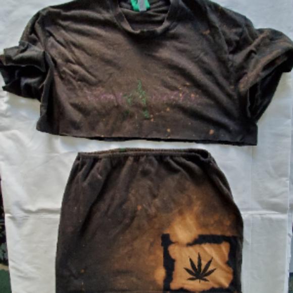 Jimmy Puffa 2 piece crop top mini skirt